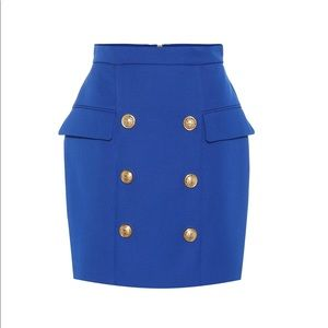 NWT Balmain skirt in royal blue with gold buttons